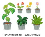 Illustration Of Six Pots With...