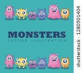 group of cute monsters card | Shutterstock .eps vector #1280501404
