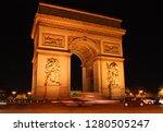 arc de triomphe by night | Shutterstock . vector #1280505247
