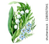 lily of the valley bouquet.... | Shutterstock . vector #1280507041