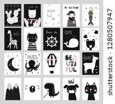 set of cute black and white... | Shutterstock .eps vector #1280507947