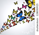 swarm of  colorful butterflies... | Shutterstock . vector #128050925