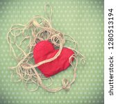 valentines day. red heart... | Shutterstock . vector #1280513194