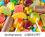 mixed colorful candies... | Shutterstock . vector #128051597