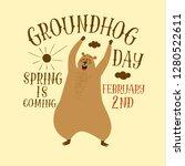 funny cartoon groundhog yawns....   Shutterstock .eps vector #1280522611