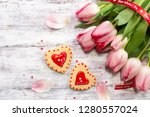 valentines day background with...   Shutterstock . vector #1280557024