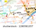 six mile. augusta. usa on a map | Shutterstock . vector #1280581357