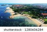 Beautiful view of resorts and white sand beach, Tanjung Benoa, Bali.