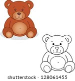 Coloring Book. Bear Toy Vector...