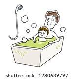 son  relaxing in the bath ...   Shutterstock .eps vector #1280639797