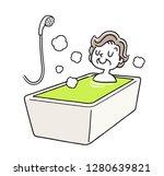 bathing  baths  senior women to ...   Shutterstock .eps vector #1280639821