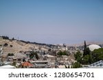 View of Jersalem, cemetery on Mt of Olives and hills beyond in Israel