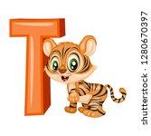 animal alphabet. t is for tiger.... | Shutterstock .eps vector #1280670397