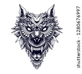Wolf Head Tattoo Illustration...