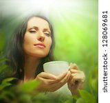 woman with tea cup on... | Shutterstock . vector #128069681