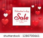 valentine's day sale poster or... | Shutterstock .eps vector #1280700661