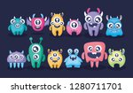 group of cute monsters card | Shutterstock .eps vector #1280711701