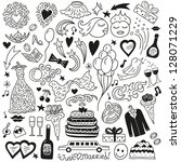 wedding doodles | Shutterstock .eps vector #128071229