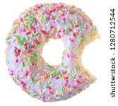 bitten strawberry donut covered ...   Shutterstock . vector #1280712544