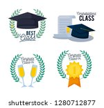 graduation class card set icons | Shutterstock .eps vector #1280712877