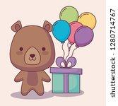 cute bear teddy happy birthday... | Shutterstock .eps vector #1280714767