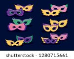 mardi gras card with masks | Shutterstock .eps vector #1280715661