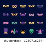 mardi gras card set icons | Shutterstock .eps vector #1280716294