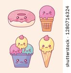 cute ice creams and donuts... | Shutterstock .eps vector #1280716324