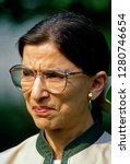 Small photo of Washington, DC. USA, August 3, 1993 Newly confirmed by the Senate Judiciary committee Ruth Bader Ginsburg Associate Justice of the Supreme Court speaks to the news media in the White House Rose Garden
