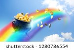 Pot With Gold Coins On A...