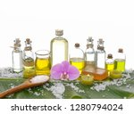 spa set on banana leaf with... | Shutterstock . vector #1280794024
