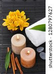 spa setting with yellow orchid... | Shutterstock . vector #1280797627