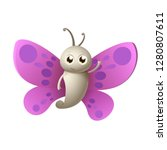 cute happy butterfly smile and... | Shutterstock .eps vector #1280807611