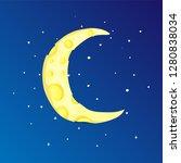 fun cartoon yellow crescent... | Shutterstock .eps vector #1280838034