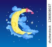 fun cartoon yellow crescent... | Shutterstock .eps vector #1280838037