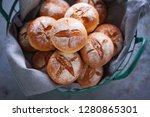 fresh homemade buns  bread...   Shutterstock . vector #1280865301