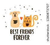 cute and happy cat with dog... | Shutterstock .eps vector #1280873707