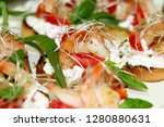 bruschetta with shrimps and... | Shutterstock . vector #1280880631
