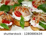 bruschetta with shrimps and... | Shutterstock . vector #1280880634