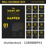 wall calendar template for 2019 ... | Shutterstock .eps vector #1280888941