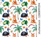 travel watercolor seamless... | Shutterstock . vector #1280899294