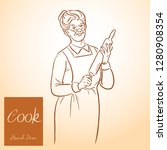 lady chef. cooking. vintage... | Shutterstock .eps vector #1280908354