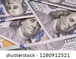 close up of heap of one hundred ...   Shutterstock . vector #1280912521