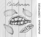 cardamom isolated on wooden... | Shutterstock .eps vector #1280940181