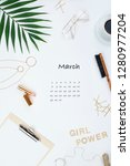 page from calendar for march... | Shutterstock . vector #1280977204