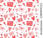 Watercolor seamless pattern with elements for Valentine's Day on a white background.Hearts, sweets, balls, gifts and other cute items.