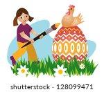 girl painting easter egg and...   Shutterstock .eps vector #128099471