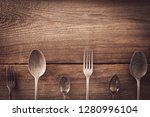 vintage cookware with spoon... | Shutterstock . vector #1280996104