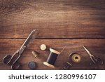 vintage sewing things with... | Shutterstock . vector #1280996107