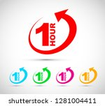 one hour arrow icon set | Shutterstock .eps vector #1281004411